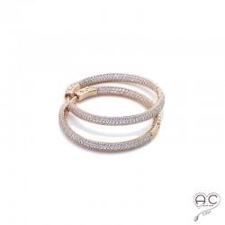 Boucles d'oreilles créoles serti zirconium blanc, argent doré à l'or fin rase 18 carats, joaillerie