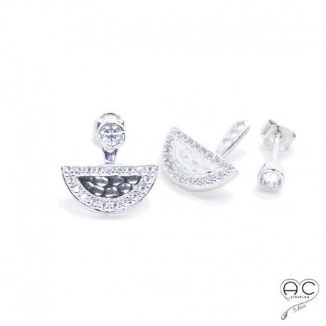 Boucles d'oreilles contours dessous lobes demi-lune argent 925 martelé rhodié zirconium