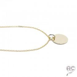Collier médaille ronde plaque or