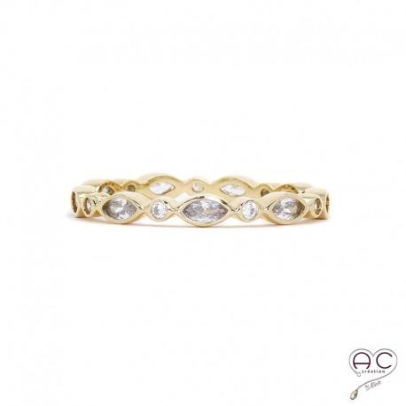 Bague anneau fin, empilable, plaqué or, serti de zirconium blanc tour complet