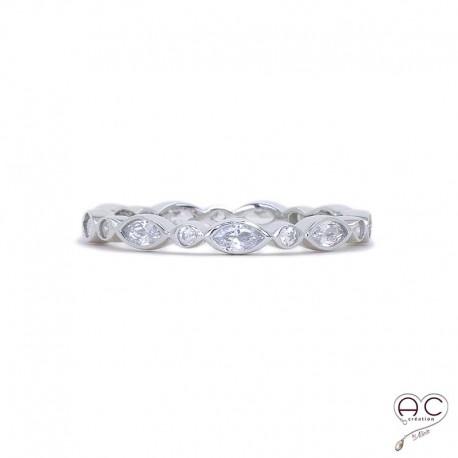 Bague anneau fin, empilable, argent 925 rhodié, serti de zirconium blanc tour complet