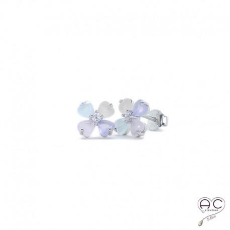 Boucles d'oreilles fleur, calcédoine couleur pastel, argent 925 rhodié