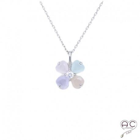 Collier fleur, calcédoine couleur pastel, argent 925 rhodié