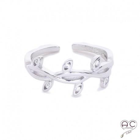 Bague feuilles de laurier, anneau ouvert, argent 925 rhodié, serti zirconium blanc