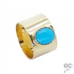 Bague turquoise anneau large plaqué or
