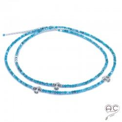 Sautoir - Collier double rang bleu en apatite aux inspirations Aztèques, pierre semi-précieuse et argent 925, bohème chic