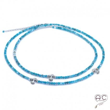 Sautoir bleu en apatite aux inspirations Aztèques, pierre semi-précieuse et argent 925, bohème chic