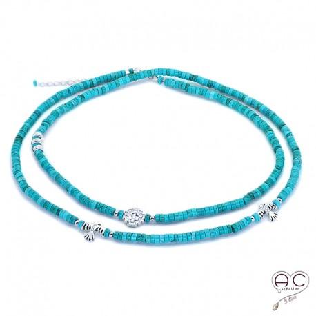 Sautoir - Collier double rang turquoise aux inspirations Aztèques, pierre semi-précieuse et argent 925, bohème chic