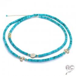 Sautoir - Collier double rang turquoise aux inspirations Aztèques, pierre semi-précieuse et plaqué or, bohème chic