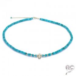 Collier turquoise aux inspirations Aztèques, ras de cou, pierre semi-précieuse et plaqué or, bohème chic