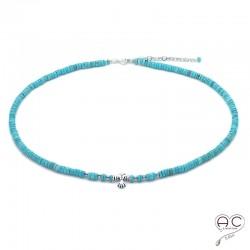 Collier turquoise aux inspirations Aztèques, ras de cou, pierre semi-précieuse et argent 925, bohème chic