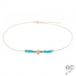 Collier turquoise sur une chaîne avec avec aigle d'inspirations Aztèques en plaqué or, ras de cou, bohème chic