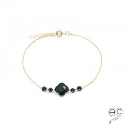 Bracelet onyx et spinelle, pierres naturelles noir sur une chaîne en plaqué or