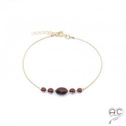Bracelet grenat, pierre naturelle sur une chaîne en plaqué or