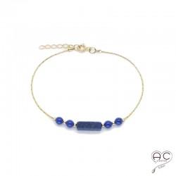 Bracelet lapis-lazuli, pierre naturelle sur une chaîne en plaqué or