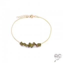 Bracelet tourmaline, pierre naturelle sur une chaîne en plaqué or