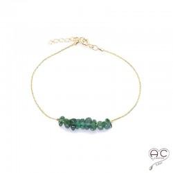 Bracelet tourmaline verte, pierre naturelle sur une chaîne en plaqué or