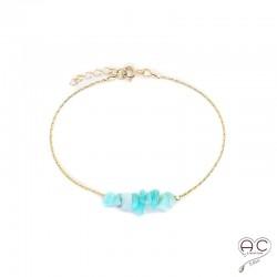 Bracelet amazonite, pierre naturelle sur une chaîne en plaqué or