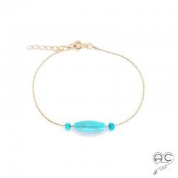 Bracelet turquoise, pierres naturelles sur une chaîne en plaqué or