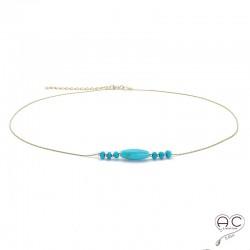 Collier turquoise, pierres naturelles sur une chaîne en plaqué or, ras de cou
