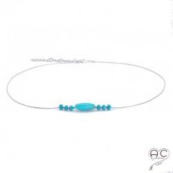 Collier turquoise, pierres naturelles sur une chaîne enargent 925 rhodié, ras de cou
