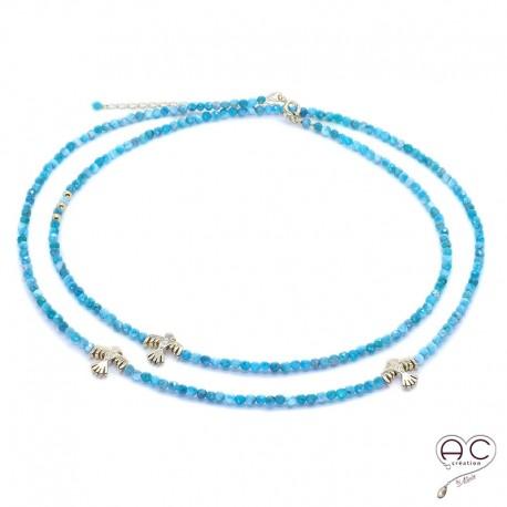 Sautoir - Collier double rang bleu en apatite aux inspirations Aztèques, pierre semi-précieuse et plaqué or, bohème chic