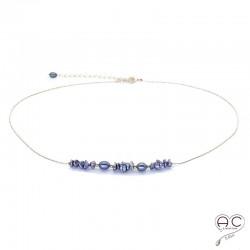 Collier perles d'eau douce et perles de keshi gris irisée sur une chaîne en plaqué or, ras de cou