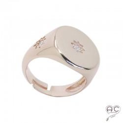 Bague chevalière avec étoile gravée sertie de zirconium en argent 925 dorée à l'or fin rose