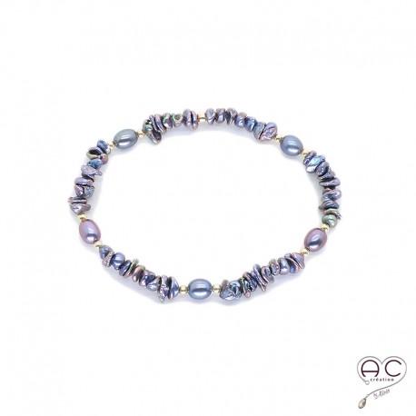 Bracelet perle d'eau douce et perles de keshi gris irisée, plaqué or