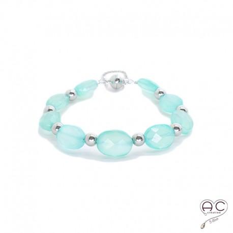 Bracelet pierre naturelle calcédoine agua, argent 925 rhodié, gipsy, bohème, création