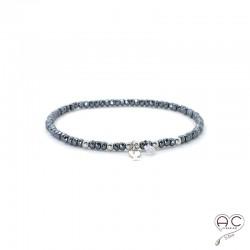 Bracelet hématite, pierre naturelle, pampille poisson en argent 925 et petit brillant en cristal, élastique, bohème, création