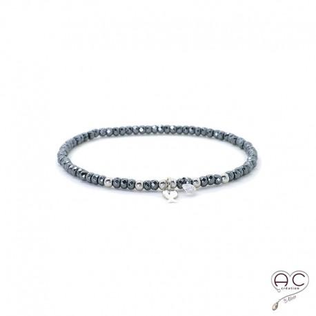 Bracelet hématite, pierre naturelle, pampille poisson en argent 925 et petit brillant en cristal, gipsy, bohème, création