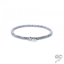 Bracelet hématite, pierre naturelle, pampille médaille en argent 925 et petit brillant en cristal, élastique, bohème, création