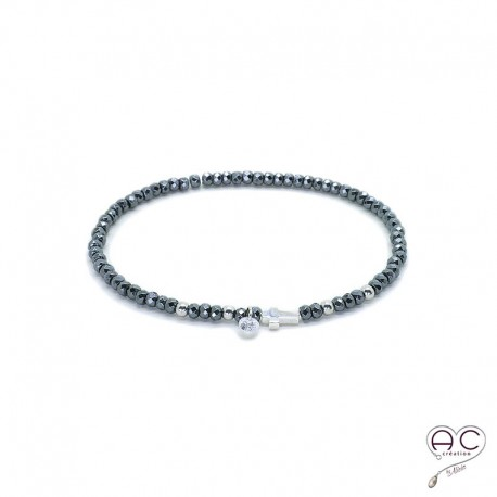 Bracelet hématite, pierre naturelle, croix en argent 925 et petit brillant en cristal, gipsy, bohème, création