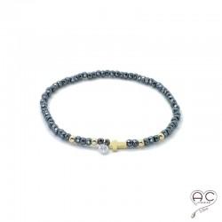 Bracelet hématite, pierre naturelle, croix en plaqué or et petit brillant en cristal, gipsy, bohème, création