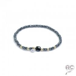 Bracelet spinelle et hématite, pierre naturelle, plaqué or et petit brillant en cristal, élastique, gipsy, bohème, création