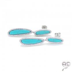 Boucles d'oreilles turquoise joaillerie pendantes argent 925 rhodié zirconium blanc