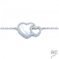 Bracelet deux cœurs nacre zirconium blanc argent 925 rhodié