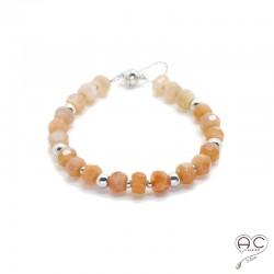 Bracelet pierre naturelle pierre de soleil, argent 925 rhodié, gipsy, bohème, création