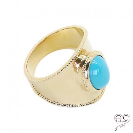 Bague ethnique turquoise sertie sur un anneau en plaqué or, femme, bohème