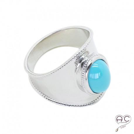 Bague ethnique turquoise sertie sur un anneau en argent rhodié, femme, bohème