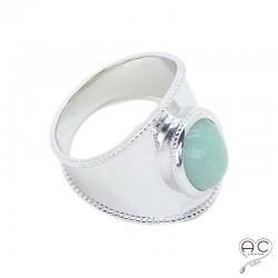 Bague ethnique pierre naturelle verte, aventurine en cabochon sertie sur un anneau en argent 925 rhodié, femme, bohème