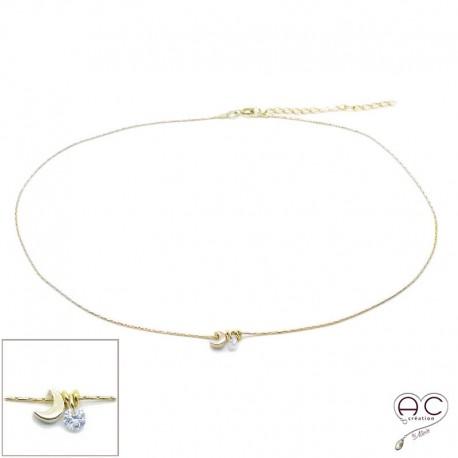 Collier ras de cou croissant de lune et petit brillant en cristal sur une chaîne en plaqué or, création by Alicia