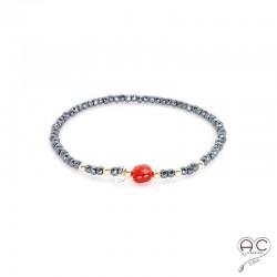 Bracelet cornaline et hématite, pierre naturelle, plaqué or et petit brillant en cristal, élastique, gipsy, bohème, création