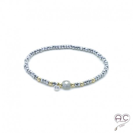 énorme réduction 0a779 7bff1 bracelet femme labradorite hématite pierre naturelle bohème création
