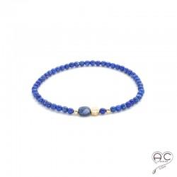 Bracelet lapis lazuli pierre naturelle, plaqué or, élastique, femme, gipsy, bohème, création