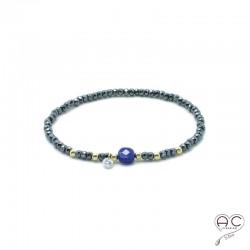 Bracelet lapis lazuli et hématite, pierre naturelle, plaqué or et petit brillant en cristal, élastique, gipsy, bohème, création