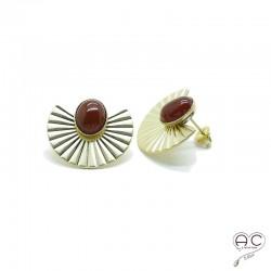 Boucles d'oreilles ethnique cornaline, large en plaqué or satiné, pierre naturelle, bohéme, tendance