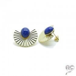 Boucles d'oreilles ethnique lapis lazuli, large en plaqué or satiné, pierre naturelle, bohéme, tendance