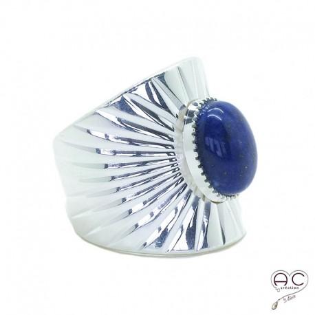 Bague ethnique lapis lazuli, anneau large ouvert en argent, pierre naturelle, bohéme, tendance